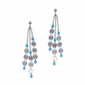 Earrings silver 925 rhodium plated with turquoise - Funky Metal