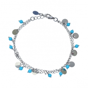 Bracelet silver 925 rhodium plated with turquoise - Funky Metal