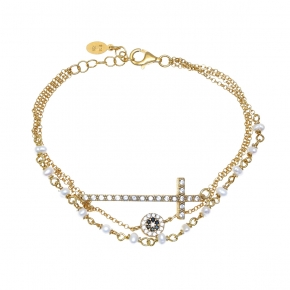 Necklace silver 925 gold plated with pearls & zirconia - WANNA GLOW