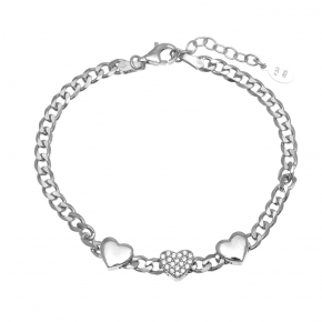 Bracelet silver 925 rhodium plated with white zirconia - WANNA GLOW