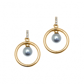 Earrings in silver 925 gold plated with shell pearls - Simply Me