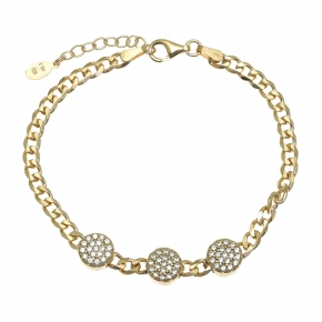 Bracelet silver 925 gold plated with white zirconia - WANNA GLOW
