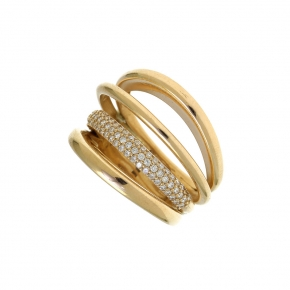 Ring silver 925 gold plated with white zirconia - WANNA GLOW