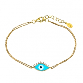 Bracelet silver 925 gold plated & with enamel evil eye - Wish Luck