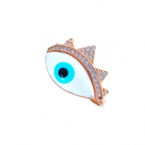 Ring silver 925 pink gold plated & with enamel evil eye and zirconia - Wish Luck