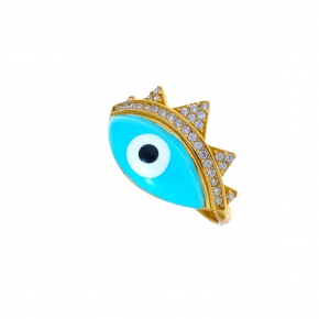 Ring silver 925 yellow gold plated & with enamel evil eye and zirconia - Wish Luck
