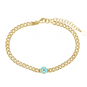 Bracelet silver 925 gold plated with enamel evil eye - WANNA GLOW