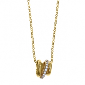 Necklace silver 925 yellow gold plated with white zirconia - WANNA GLOW
