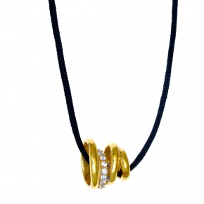 Necklace silver 925 yellow gold plated with white zirconia and cord - WANNA GLOW