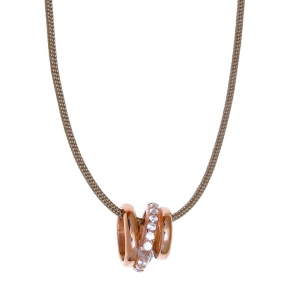 Necklace silver 925 rose gold plated with white zirconia and cord - WANNA GLOW