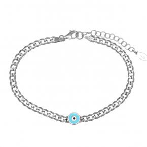 Bracelet silver 925 rhodium plated with enamel evil eye - WANNA GLOW