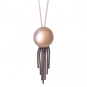 Necklace metal pink gold plated & with black zirconia - WANNA GLOW