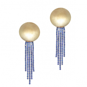 Earrings metal gold plated & with blue zirconia - WANNA GLOW