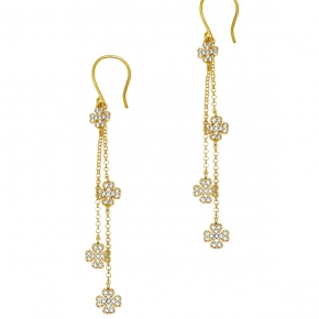 Earings silver 925 yellow gold plated with white zirconia - WANNA GLOW