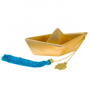 Lucky charm ceramic boat with fourleaf made of metal (pendant size 2.5 cm) - Wish Luck
