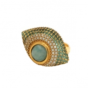 Ring silver 925 yellow gold plated with amazonite & zirconia - Color Me