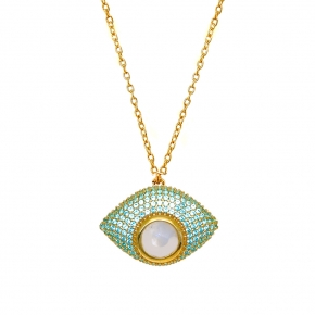 Necklace silver 925 yellow gold plated with moonstone & zirconia - Color Me