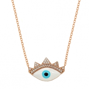 Necklace silver 925 pink gold plated & with enamel evil eye - Wish Luck