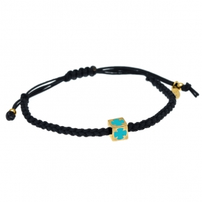 Bracelet silver 925 yellow gold plated with enamel and cord - Wish Luck