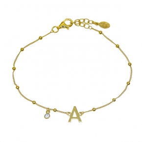 Bracelet silver 925 yellow gold plated with white zirconia - Wish Luck