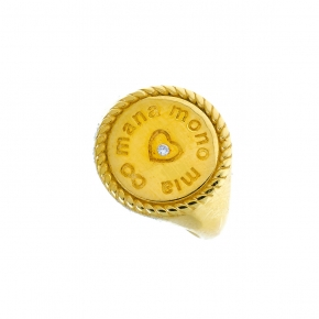Ring silver 925 yellow gold plated with white zirconia - Wish Luck