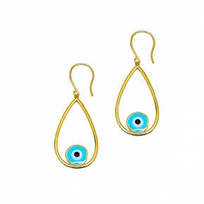 Earrings silver 925 gold plated & with enamel evil eye - Wish Luck