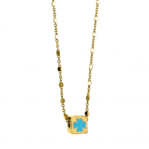 Necklace silver 925 yellow gold plated with enamel - Wish Luck