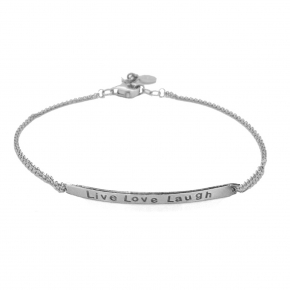 Bracelet silver 925 rhodium plated (Live Love Laugh) - Wish Luck