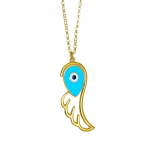 Necklace silver 925 gold plated & with enamel evil eye - Wish Luck