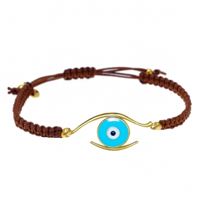 Bracelet silver 925 gold plated & with enamel evil eye    with cord - Wish Luck