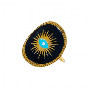 Ring silver 925 yellow gold plated & with enamel evil eye - Wish Luck