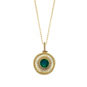 Necklace silver 925 yellow gold plated with crystal - Color Me