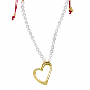 Necklace silver 925 yellow gold plated with gem stones - WANNA GLOW