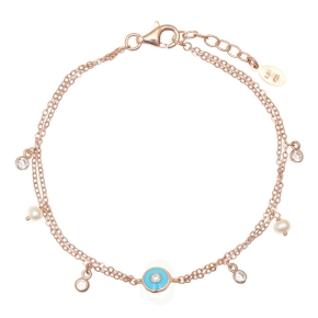 Bracelet silver 925 pink gold plated  with white zirconia and fresh water pearls - Simply Me