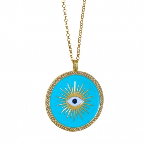 Necklace silver 925 yellow gold plated & with enamel evil eye - Wish Luck
