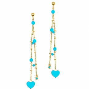 Earrings in silver 925 gold plated with enamel and turquoise - Color Me