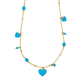 Necklace in silver 925 yellow gold plated with enamel and zirconia - Color Me
