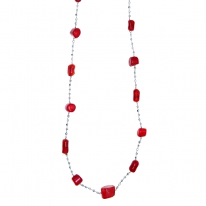 Necklace silver 925 rhodium plated with coral - Color Me