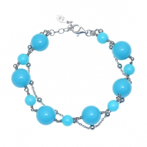 Bracelet silver 925 rhodium plated with turquoise - Color Me