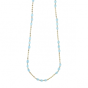 Necklace silver 925 gold plated with aquamarine - Color Me