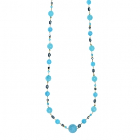 Necklace silver 925 gold plated with hematite and blue agate - Color Me