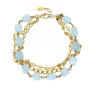 Bracelet silver 925 gold plated with aquamrine - Color Me