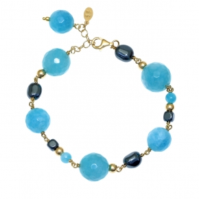 Bracelet silver 925 gold plated with hematite and blue agate - Color Me