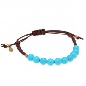 Bracelet silver 925 gold plated  with turquoise with cord - Color Me