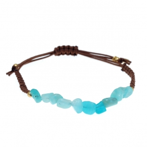 Bracelet silver 925 gold plated  with amazonite with cord - Color Me
