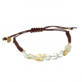 Bracelet silver 925 gold plated  with citrine with cord - Color Me