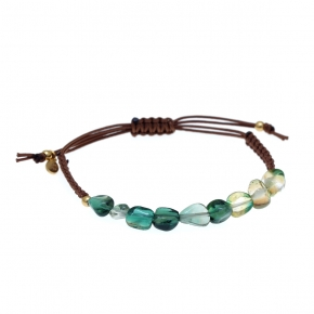 Bracelet silver 925 gold plated  with green agate with cord - Color Me