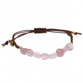 Bracelet silver 925 gold plated  with pink quartz with cord - Color Me