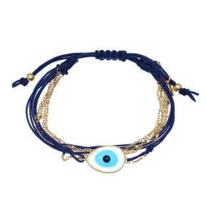 Bracelet silver 925 gold plated with cord - Color Me