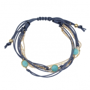 Bracelet silver 925 gold plated with amazonite and cord - Color Me